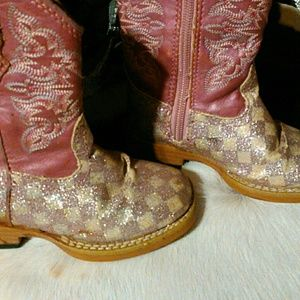 Roper Shoes - Little Girls glitter pink ropers